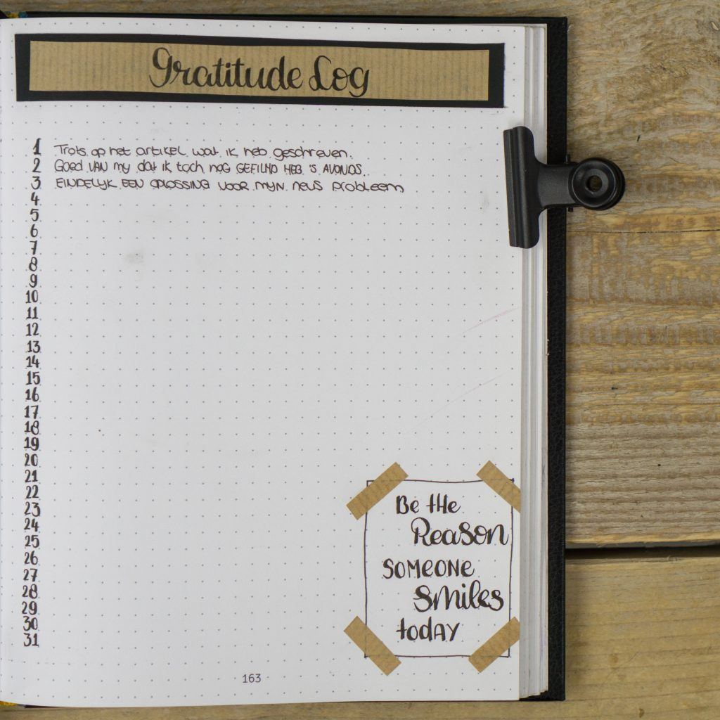 gratitude log dankbaarheidspagina dankbaar bullet journal