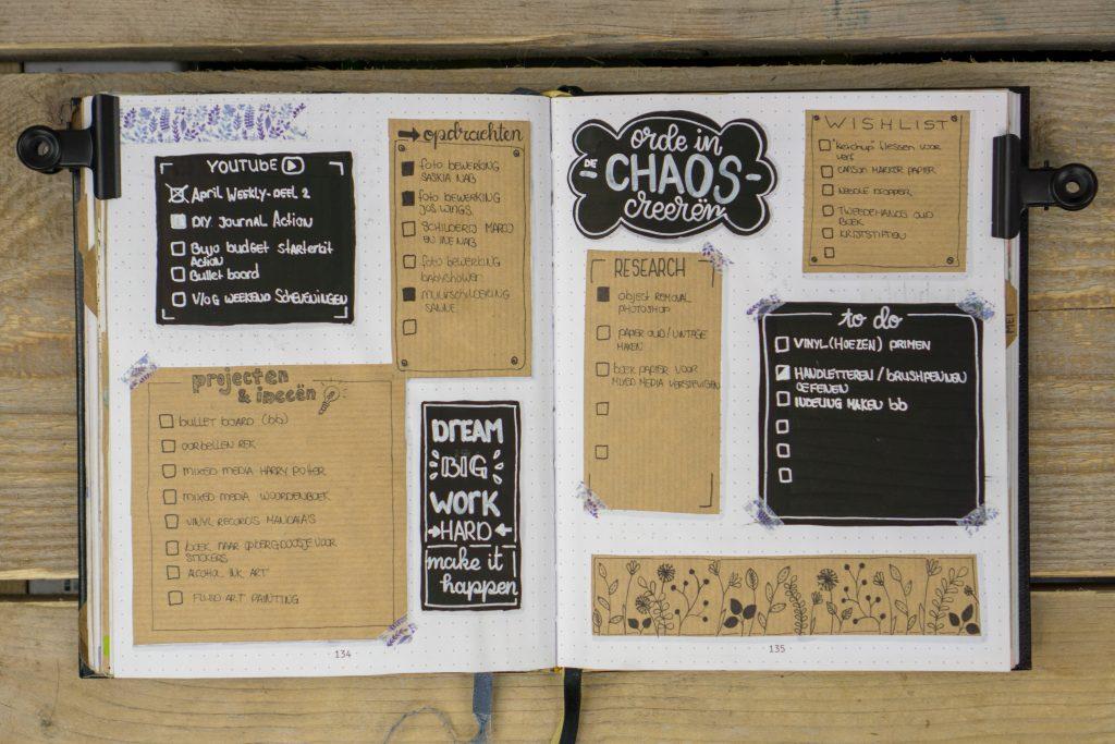 bullet journal chaos orde ordening zwart wit bruin